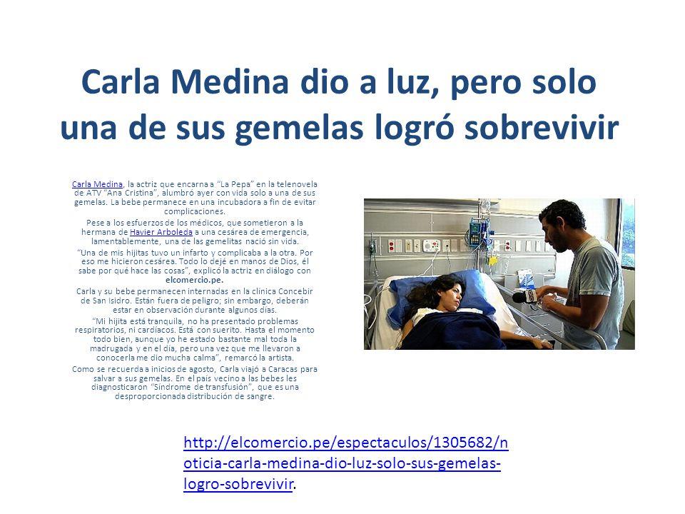 Carla Medina dio a luz, pero solo una de sus gemelas logró sobrevivir