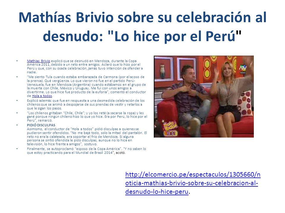 Mathías Brivio sobre su celebración al desnudo: Lo hice por el Perú