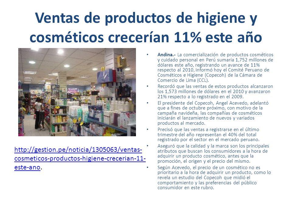 Ventas de productos de higiene y cosméticos crecerían 11% este año