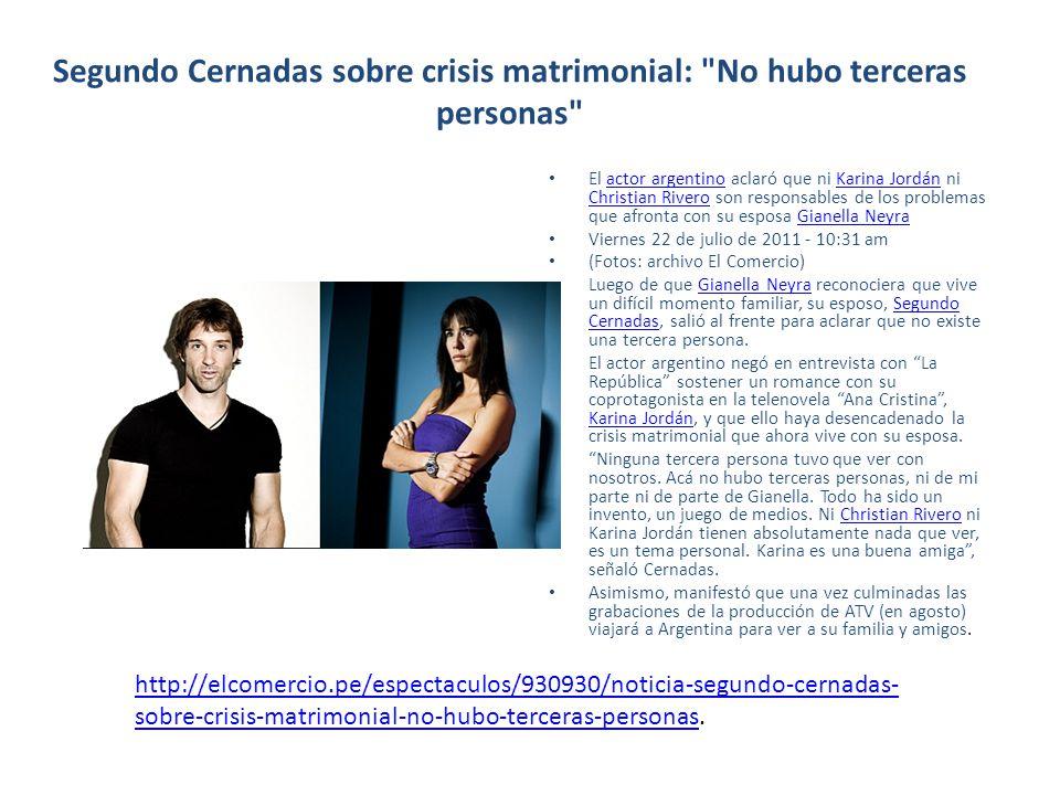 Segundo Cernadas sobre crisis matrimonial: No hubo terceras personas