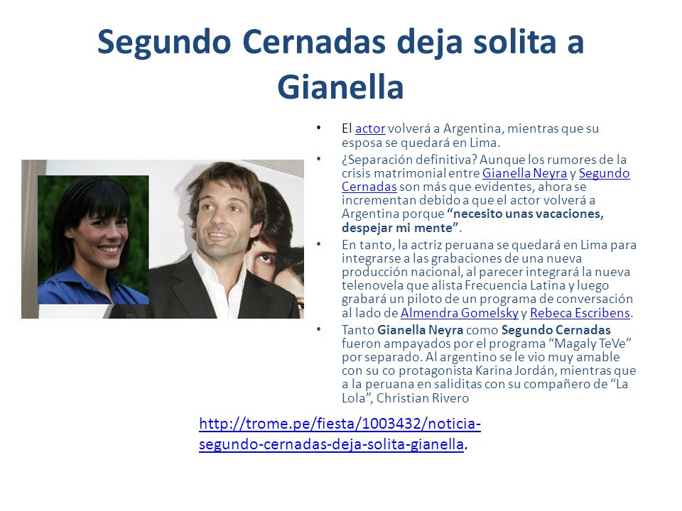 Segundo Cernadas deja solita a Gianella