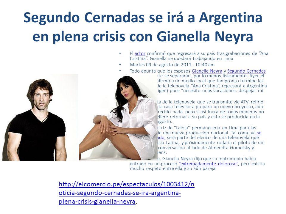 Segundo Cernadas se irá a Argentina en plena crisis con Gianella Neyra