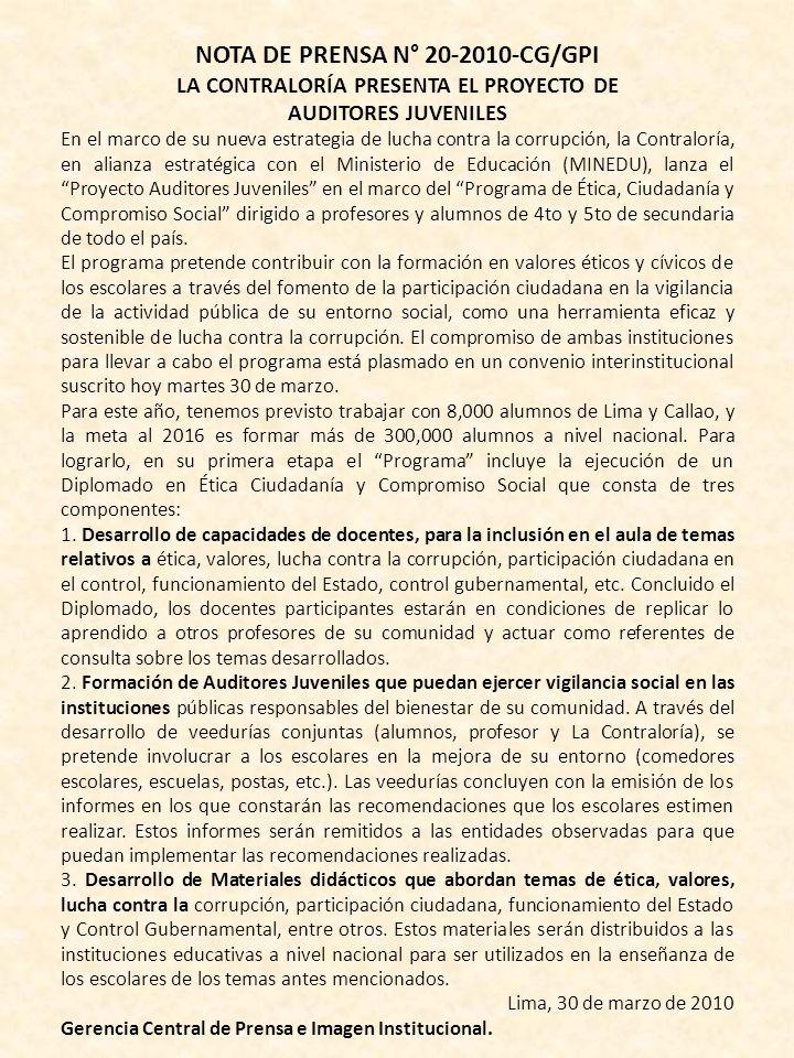 NOTA DE PRENSA N° 20-2010-CG/GPI