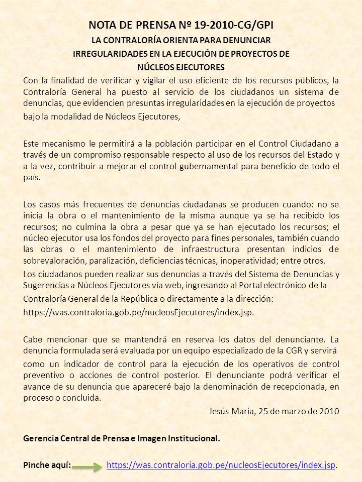 NOTA DE PRENSA Nº 19-2010-CG/GPI