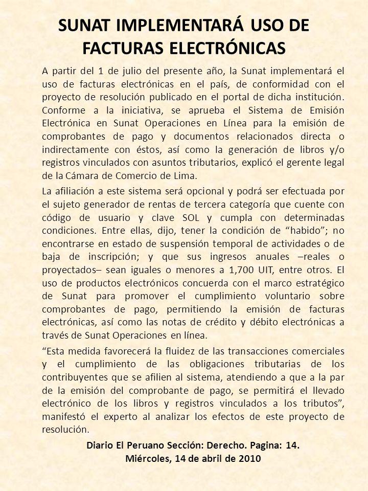 SUNAT IMPLEMENTARÁ USO DE FACTURAS ELECTRÓNICAS
