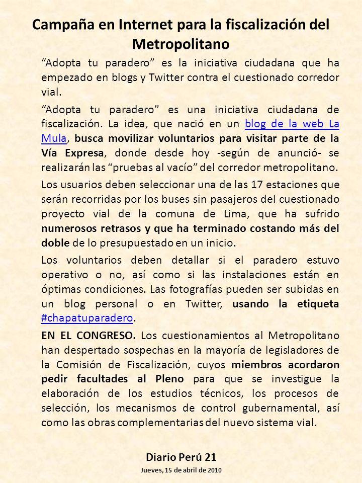 Campaña en Internet para la fiscalización del Metropolitano
