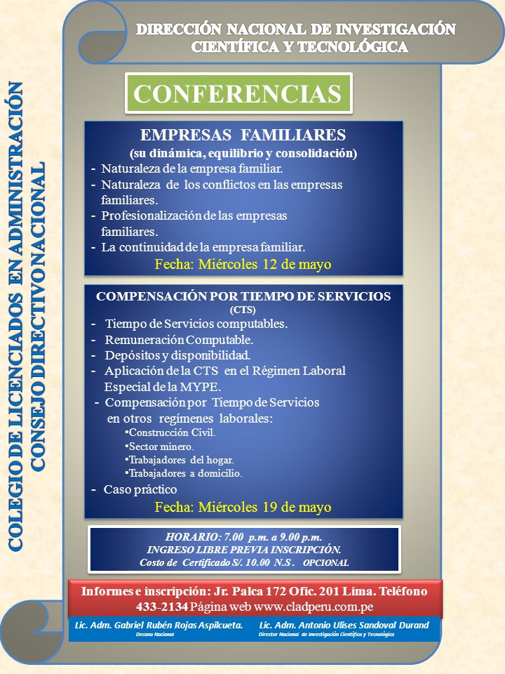 CONFERENCIAS COLEGIO DE LICENCIADOS EN ADMINISTRACIÓN