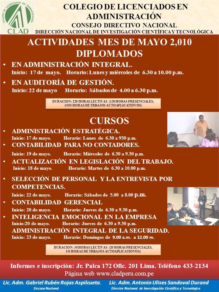 ACTIVIDADES MES DE MAYO 2,010 DIPLOMADOS CURSOS