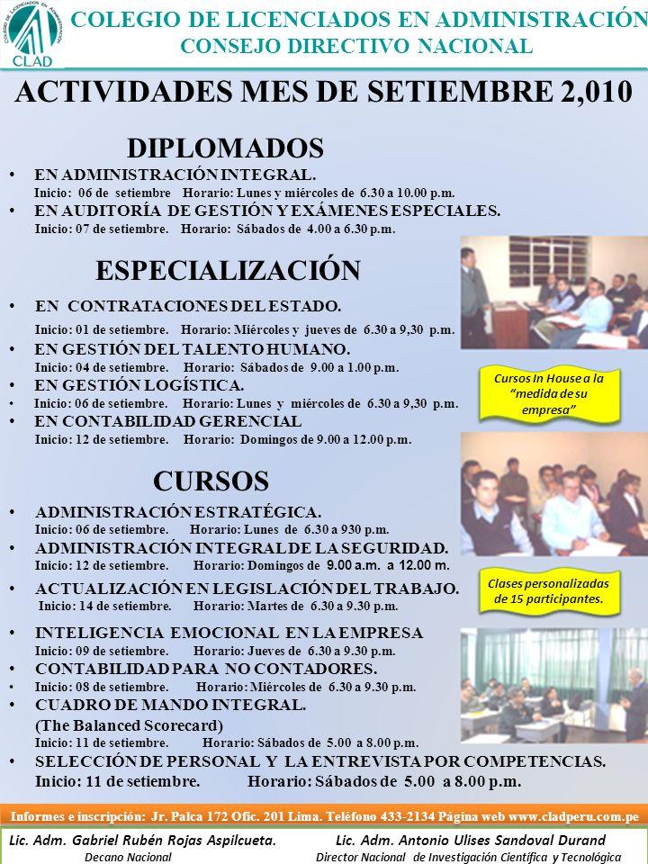 ACTIVIDADES MES DE SETIEMBRE 2,010