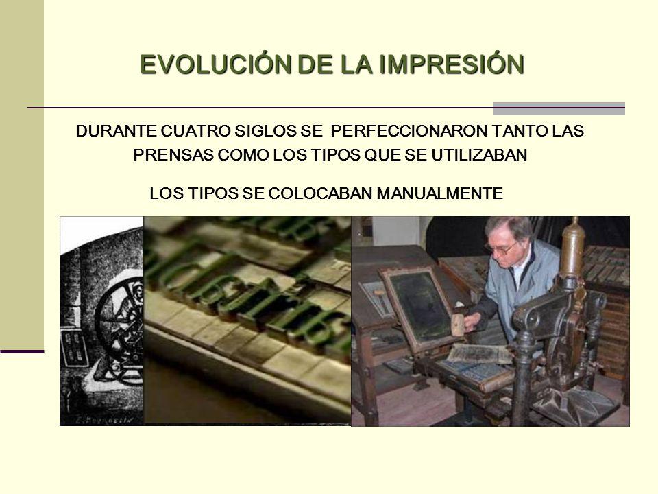EVOLUCIÓN DE LA IMPRESIÓN LOS TIPOS SE COLOCABAN MANUALMENTE
