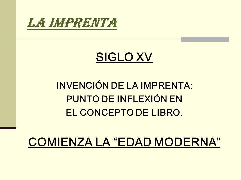 INVENCIÓN DE LA IMPRENTA: COMIENZA LA EDAD MODERNA