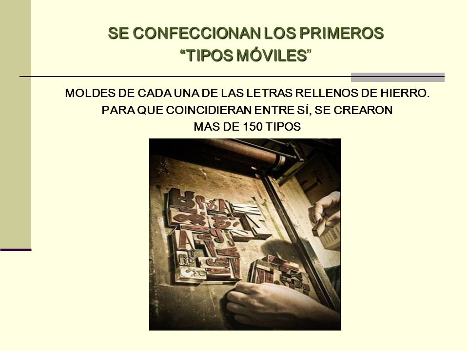 SE CONFECCIONAN LOS PRIMEROS TIPOS MÓVILES