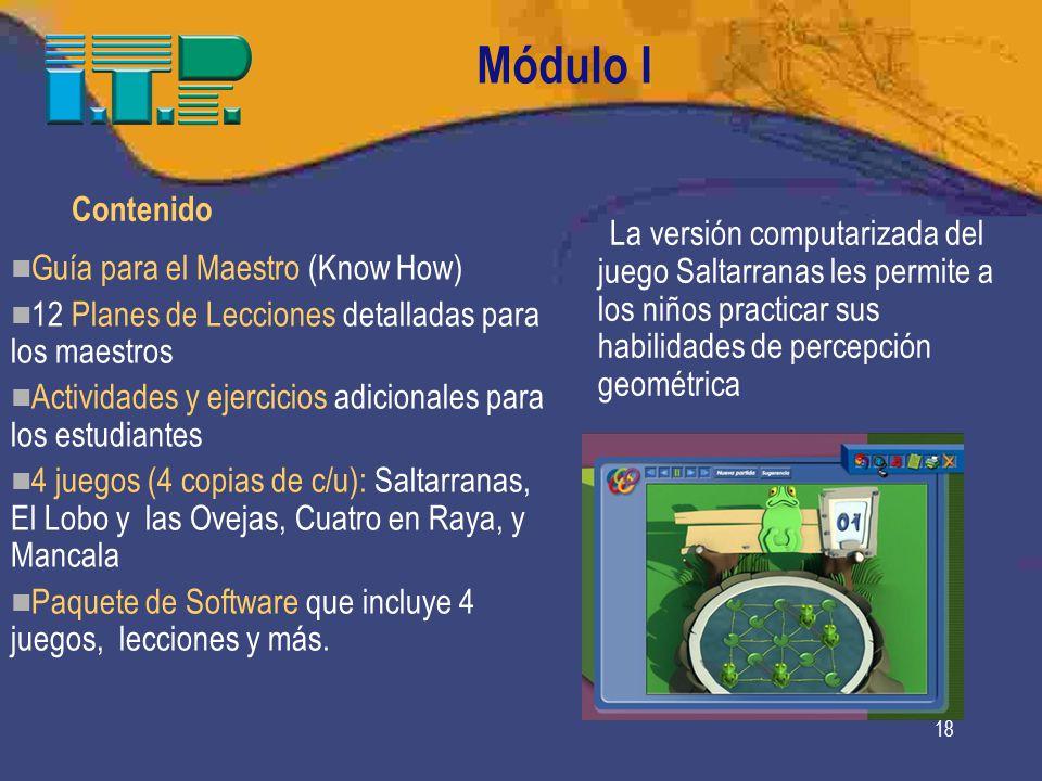 Módulo I Contenido. La versión computarizada del juego Saltarranas les permite a los niños practicar sus habilidades de percepción geométrica.