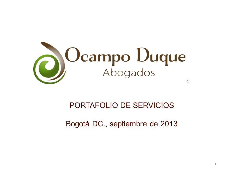 PORTAFOLIO DE SERVICIOS Bogotá DC., septiembre de 2013