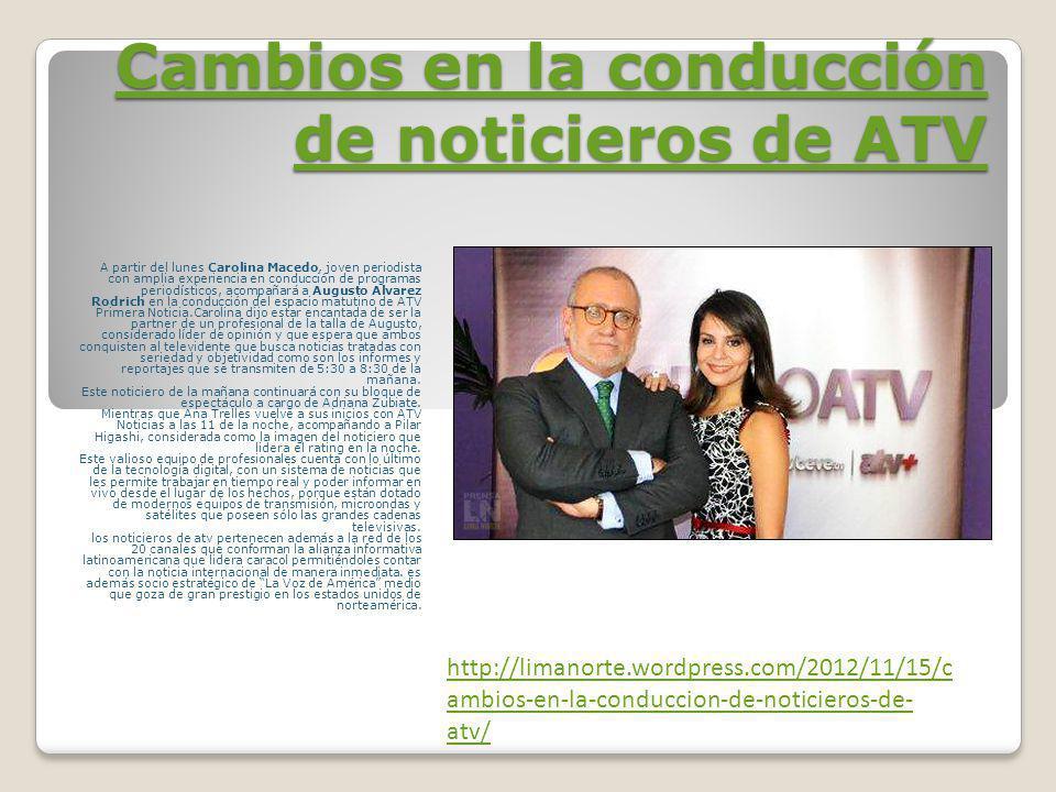 Cambios en la conducción de noticieros de ATV