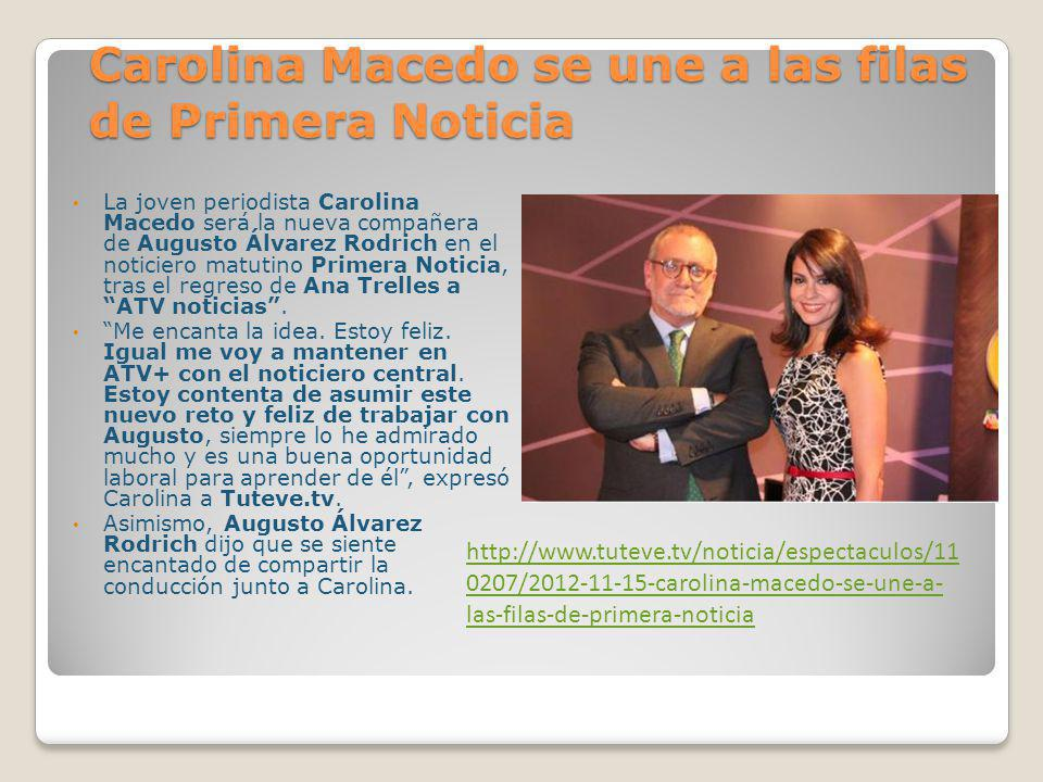 Carolina Macedo se une a las filas de Primera Noticia