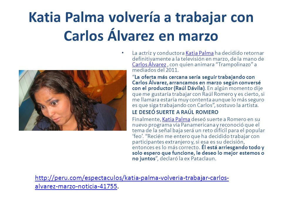 Katia Palma volvería a trabajar con Carlos Álvarez en marzo