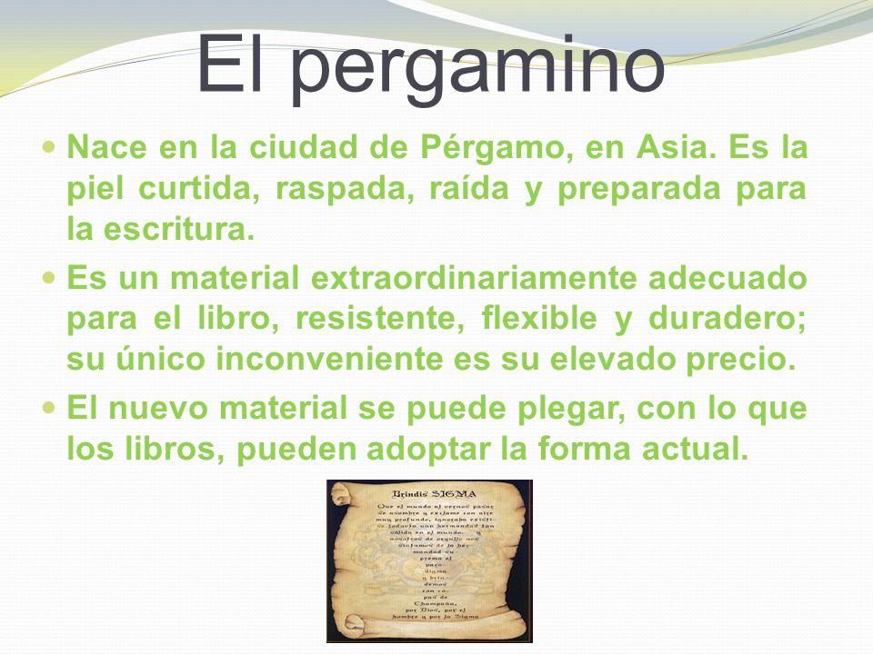 El pergamino Nace en la ciudad de Pérgamo, en Asia. Es la piel curtida, raspada, raída y preparada para la escritura.