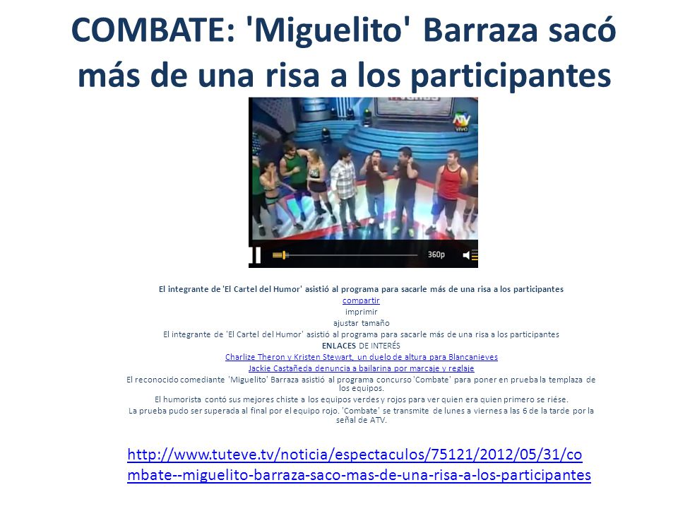 COMBATE: Miguelito Barraza sacó más de una risa a los participantes