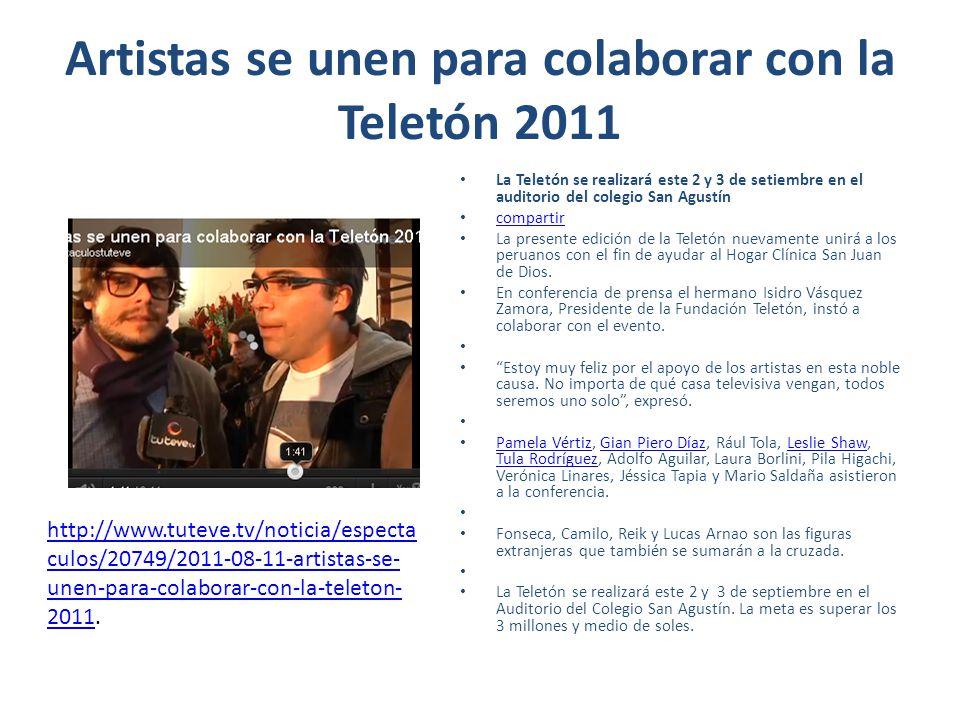 Artistas se unen para colaborar con la Teletón 2011