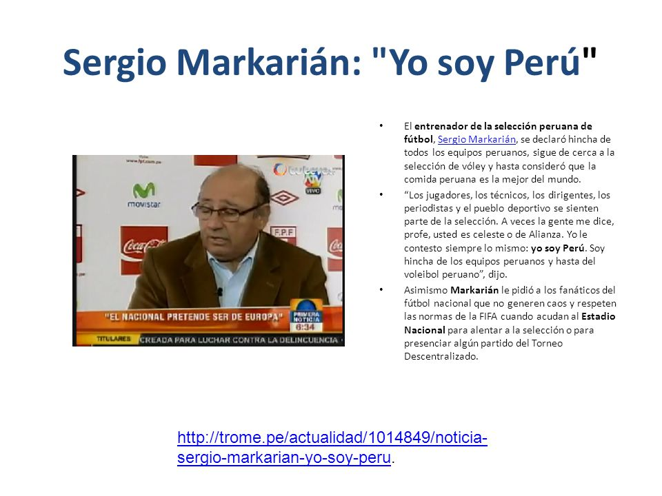 Sergio Markarián: Yo soy Perú