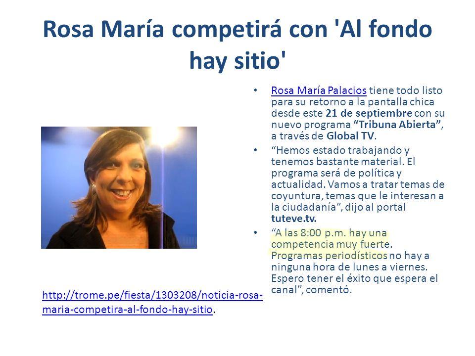Rosa María competirá con Al fondo hay sitio