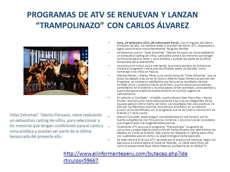PROGRAMAS DE ATV SE RENUEVAN Y LANZAN TRAMPOLINAZO CON CARLOS ÁLVAREZ