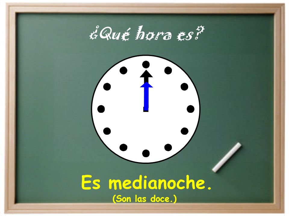 ¿Qué hora es Es medianoche. (Son las doce.)