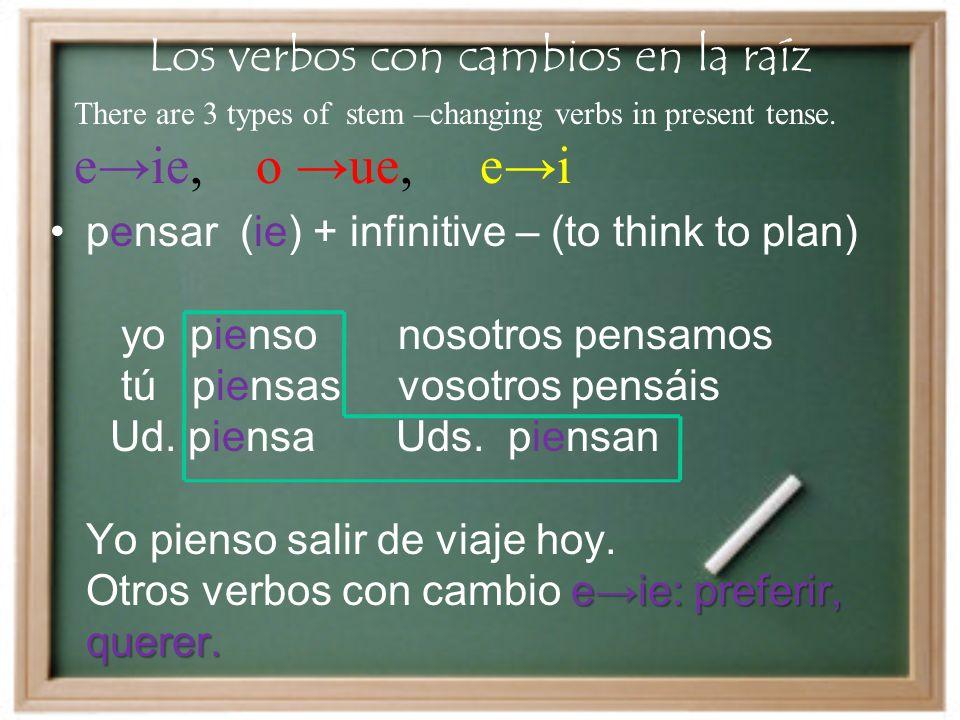 Los verbos con cambios en la raíz