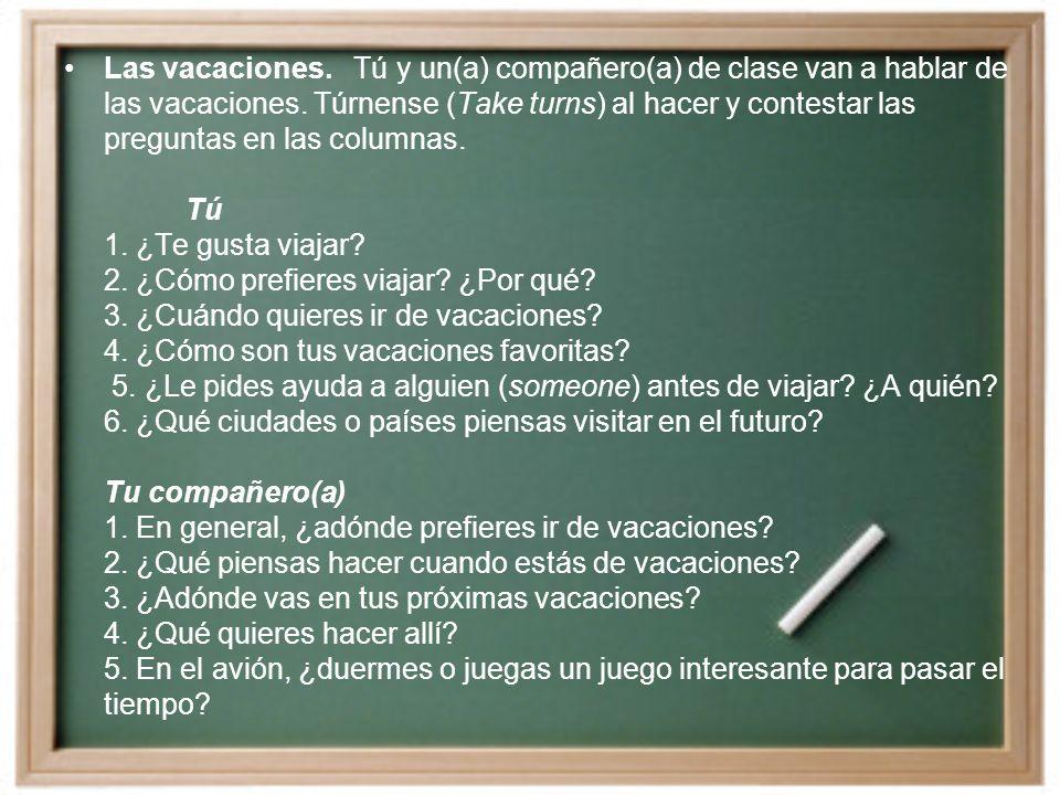 Las vacaciones. Tú y un(a) compañero(a) de clase van a hablar de las vacaciones.