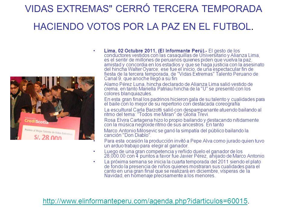 VIDAS EXTREMAS CERRÓ TERCERA TEMPORADA HACIENDO VOTOS POR LA PAZ EN EL FUTBOL.