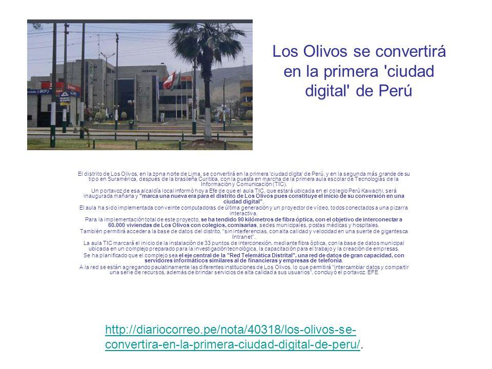 Los Olivos se convertirá en la primera ciudad digital de Perú