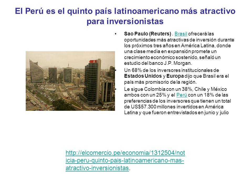 El Perú es el quinto país latinoamericano más atractivo para inversionistas