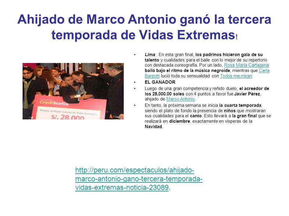 Ahijado de Marco Antonio ganó la tercera temporada de Vidas Extremas!