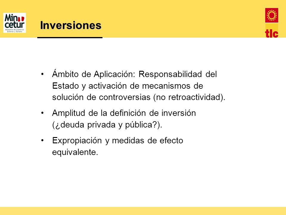 Inversiones Ámbito de Aplicación: Responsabilidad del Estado y activación de mecanismos de solución de controversias (no retroactividad).