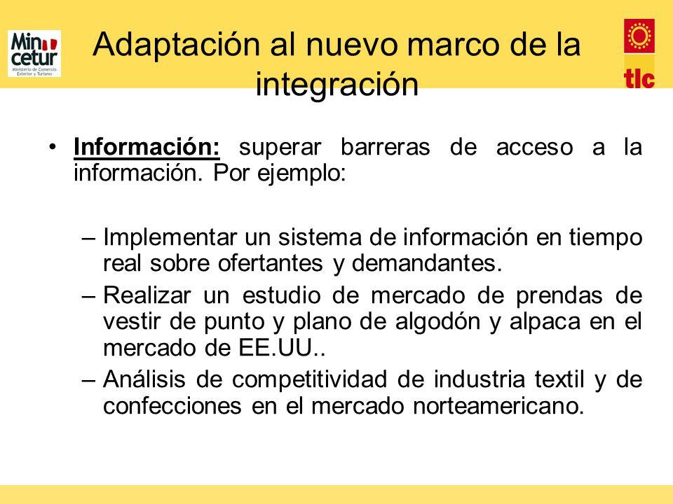 Adaptación al nuevo marco de la integración