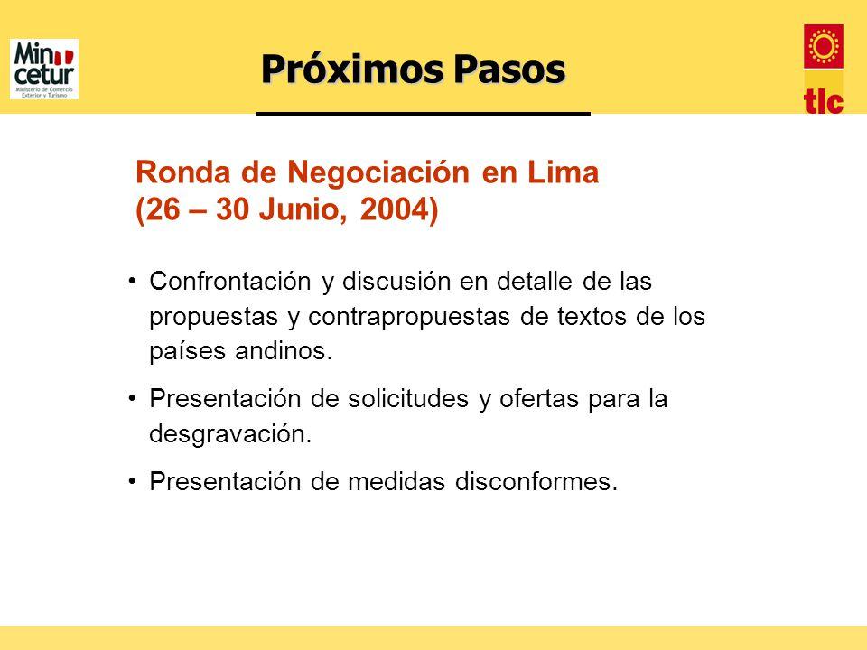 Próximos Pasos Ronda de Negociación en Lima (26 – 30 Junio, 2004)