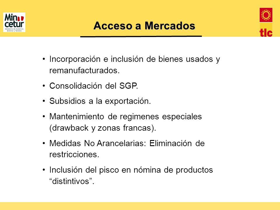 Acceso a Mercados Incorporación e inclusión de bienes usados y remanufacturados. Consolidación del SGP.