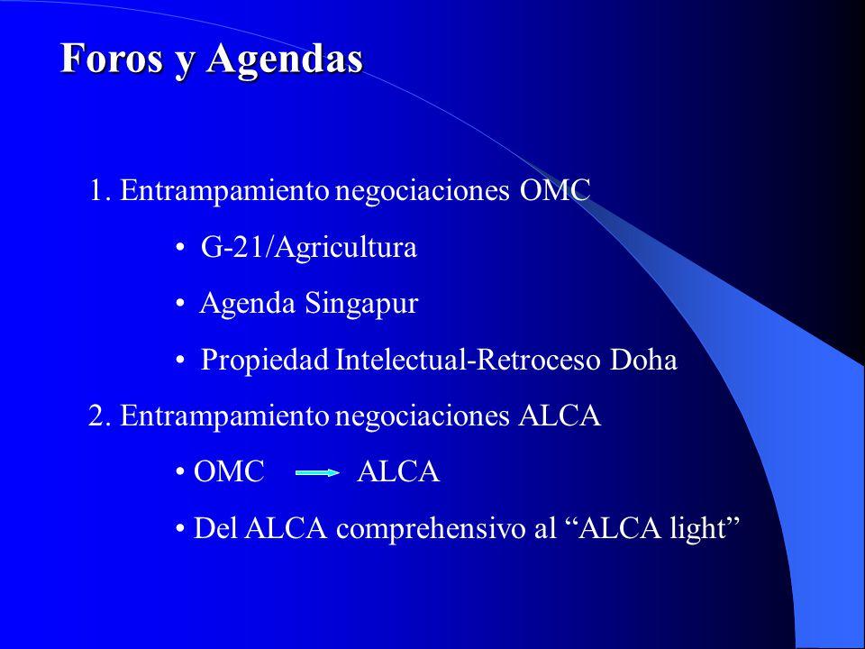 Foros y Agendas 1. Entrampamiento negociaciones OMC G-21/Agricultura
