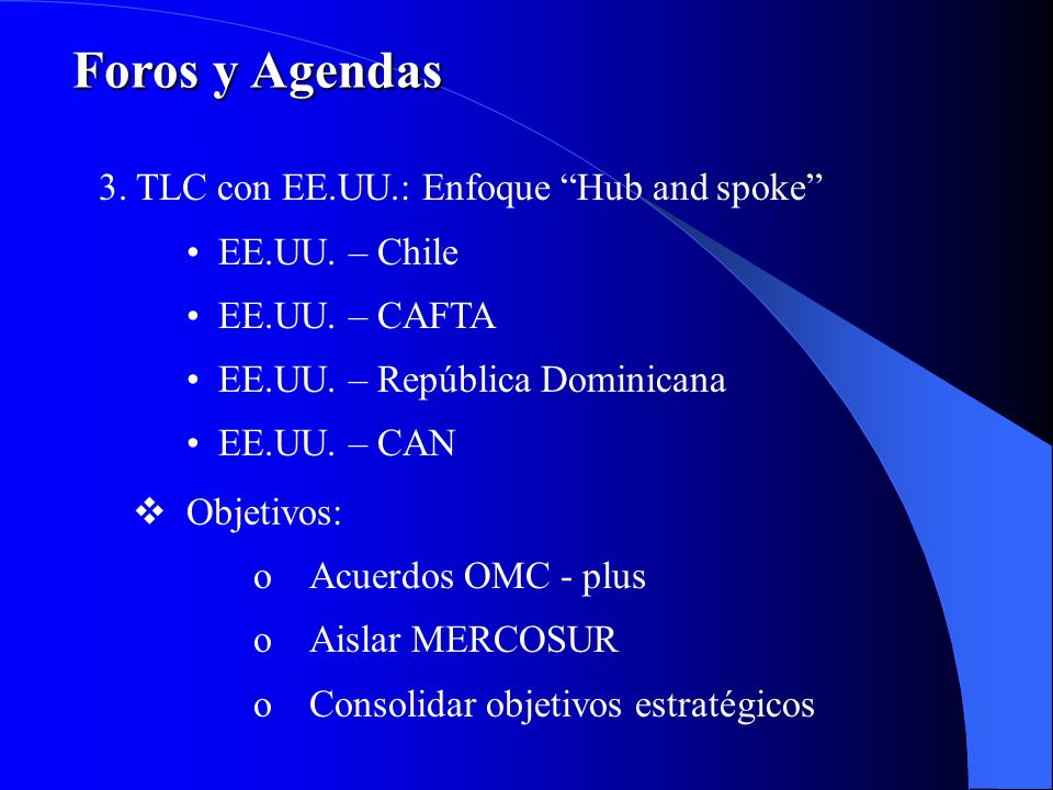 Foros y Agendas 3. TLC con EE.UU.: Enfoque Hub and spoke