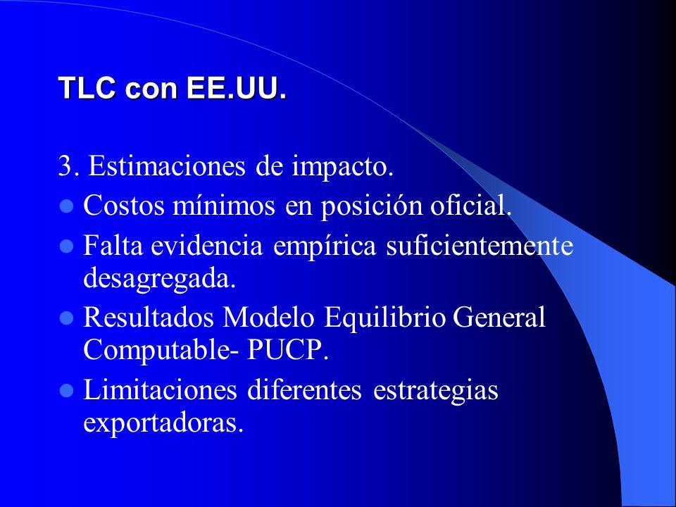 TLC con EE.UU. 3. Estimaciones de impacto. Costos mínimos en posición oficial. Falta evidencia empírica suficientemente desagregada.