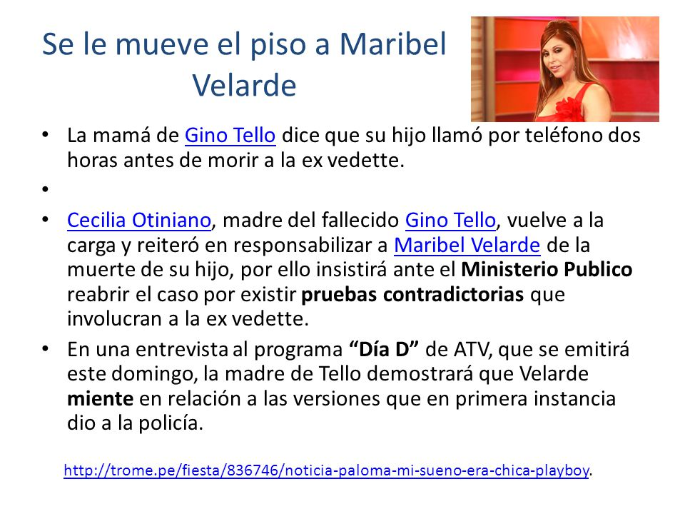 Se le mueve el piso a Maribel Velarde