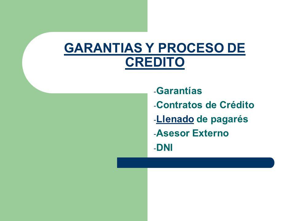 GARANTIAS Y PROCESO DE CREDITO