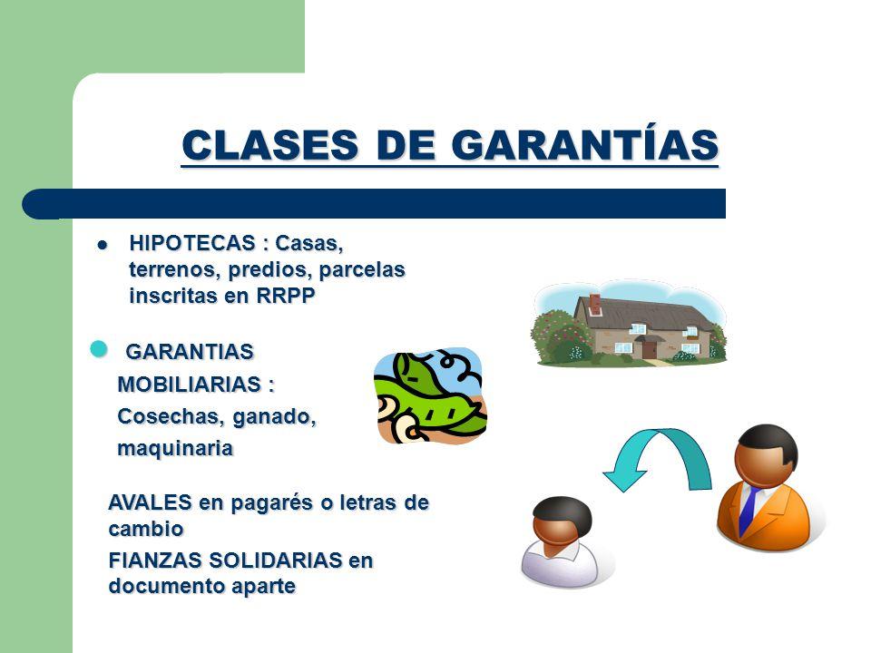 CLASES DE GARANTÍAS GARANTIAS