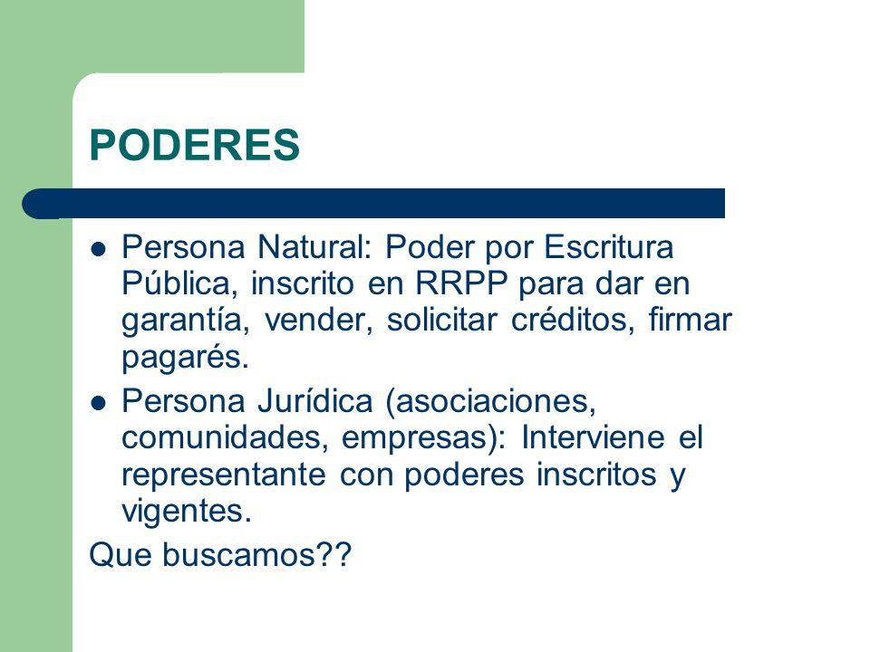 PODERES Persona Natural: Poder por Escritura Pública, inscrito en RRPP para dar en garantía, vender, solicitar créditos, firmar pagarés.