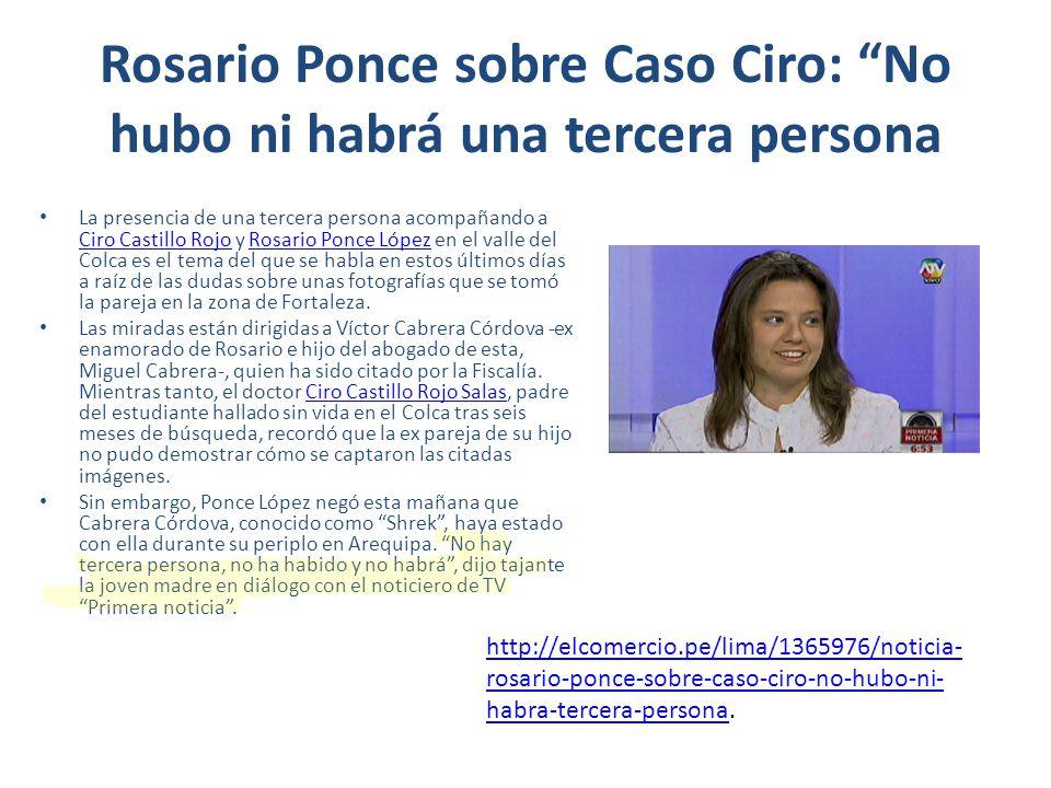 Rosario Ponce sobre Caso Ciro: No hubo ni habrá una tercera persona