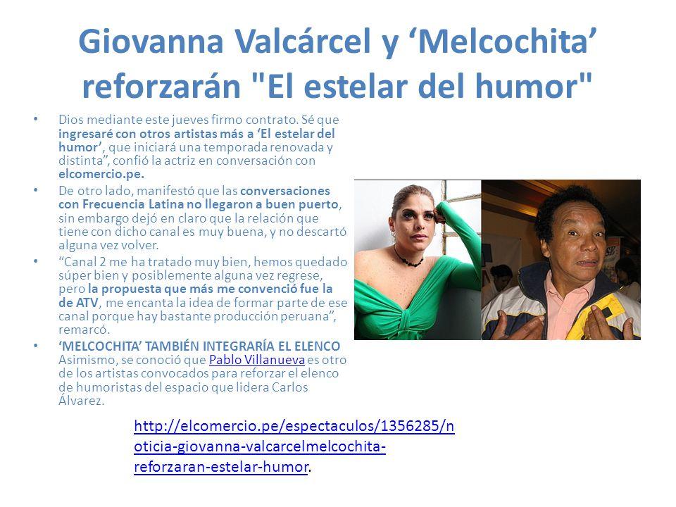 Giovanna Valcárcel y 'Melcochita' reforzarán El estelar del humor
