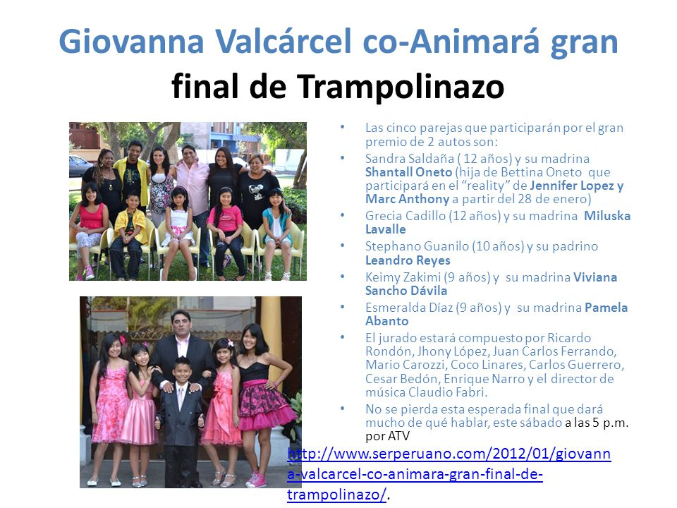 Giovanna Valcárcel co-Animará gran final de Trampolinazo