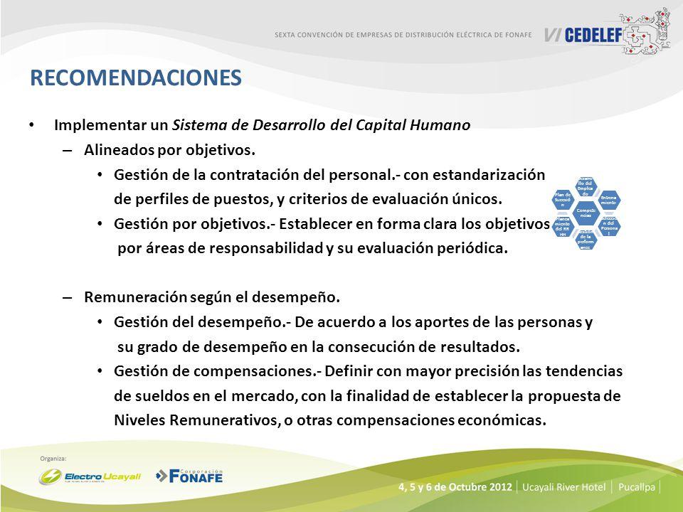 RECOMENDACIONES Implementar un Sistema de Desarrollo del Capital Humano. Alineados por objetivos.