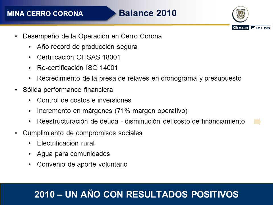 2010 – UN AÑO CON RESULTADOS POSITIVOS